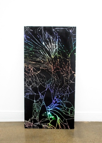 "Natalie Labriola / Cracked Screen v.2.1 (2012), acrylic on holographic paper49"" x 24"" x 3/4"""